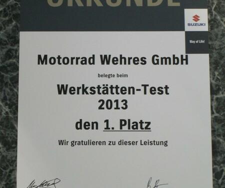 1.Platz beim Suzuki Werkstättentest