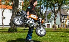 10 Motorräder mit niedriger Sitzhöhe 2016 Bild 14 Die Bremsen werken bei dem dermaßen niedrigen Gewicht von knapp 60 Kilo kräftig.