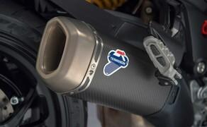 Ducati Multistrada 1260 Bild 7 Die 1260 Pikes Peak wird hingegen neben edlen Öhlins-Fahrwerk und Quickshifter serienmäßig mit Termignoni-Auspuff ausgeliefert.