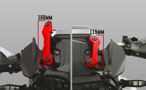Ruhe bewahren! - Neues Wunderlich Windschild Bild 13 Erläuterung: BMW bietet werksseitig zwei Scheiben an, eine mit langer Halterung (160mm) oder mit kurzer Halterung (115mm)