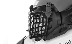 Neuer Lichtschutz für BMW F750/850 GS von Wunderlich Bild 4 Das Wunderlich Lampenschutzgitter besteht aus robustem und pulverbeschichtetem Edelstahl.