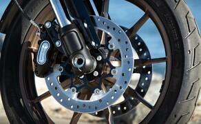 Harley-Davidson Low Rider S 2020 Test in Kalifornien Bild 13 Die Radiate Leichtmetallgussra¨der mit neun Speichen sind mit Reifen vom Typ Michelin Scorcher 31 bestu¨ckt und im matten Farbton Dark Bronze, kombiniert mit Schwarz gehalten. Vorn kommt ein 19-Zo¨ller zum Einsatz und am Heck rotiert ein 16 Zoll großes Rad.