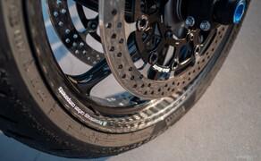 Suzuki Virus 1000 R Tune-Up Bild 12 Professionelle Racing-Ware auch am anderen Ende der Bremsleitung. Die voll schwimmenden Moto-Master Halo T-Floater 6.0 Racing Bremsscheiben sind ganze 6mm stark und kommen auch in IDM und WorldSBK Rennen zum Einsatz.