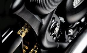 Triumph Bonneville Bobber TFC 2020 Bild 5 Immer wieder schimmert es in dem sonst sehr dunklen Bike golden durch.