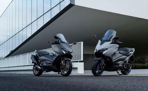 Yamaha TMAX 560 und Tech MAX 2020 Test Bild 1 Der neue Yamaha TMAX 560 wird in zwei Versionen verfügbar sein: Tech MAX (links) und Standard (rechts.)