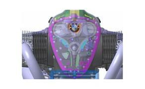 BMW R18 Motor Bild 14 Der Big Boxer verfügt über eine Nasssumpfschmierung. Die Ölpumpe wird mittels Hülsenkette von der Kurbelwelle angetrieben.