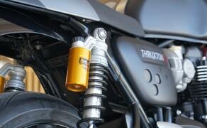 Triumph Thruxton RS Test 2020 Bild 6 Die Hinterradaufhängung: Öhlins Stereofederbeine mit Ausgleichsbehälter, voll einstellbar, 120 mm Federweg. Zum Einsatz kommt eine Aluminum Zweiarmschwinge.