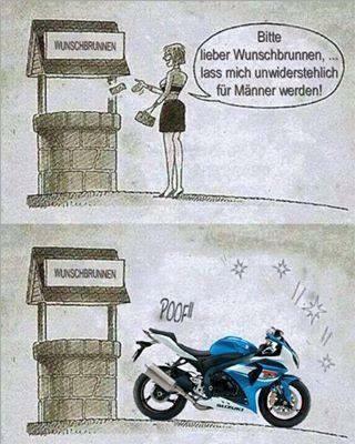 Lustig frau motorrad Motorrad Sprüche