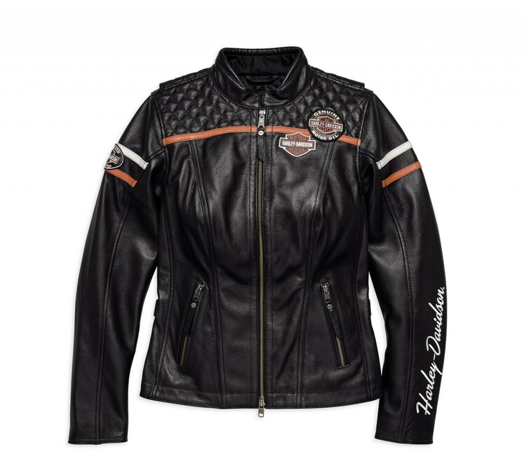Harley Davidson Miss Enthusiast  In  Leather Jacket